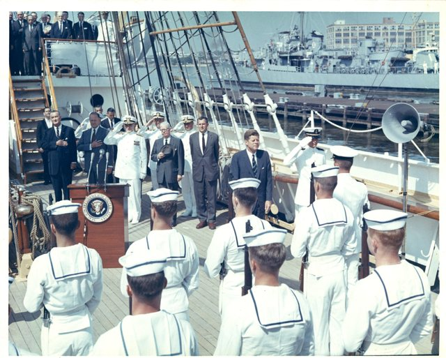 President John F. Kennedy Inspects the Eagle and Her Crew