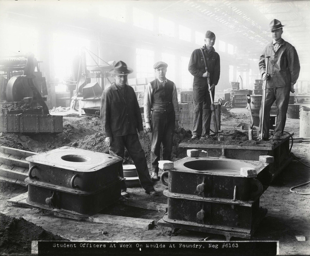 #6163 Student Officers at Work on Moulds at Foundry