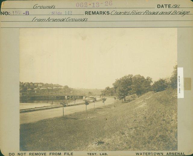 Charles River Road and Bridge from Arsenal Grounds
