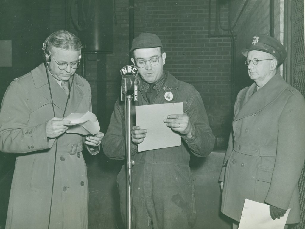 """Colonel John Mather and James F. Halloran Rehearsing Script for """"Army Hour"""""""