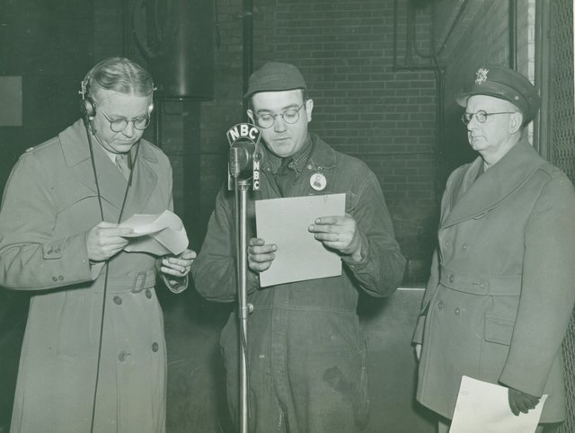 "Colonel John Mather and James F. Halloran Rehearsing Script for ""Army Hour"""