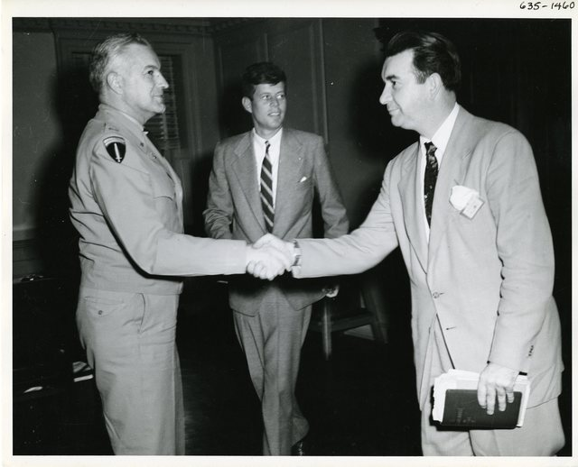 Senator John F. Kennedy Meets with Officers at the Watertown Arsenal