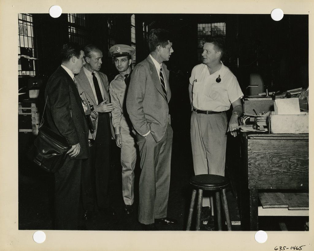 Senator John F. Kennedy Talks with a Worker at the Watertown Arsenal