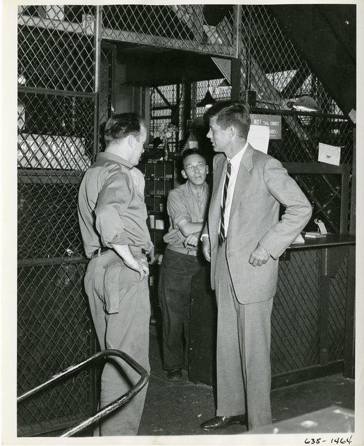 Senator John F. Kennedy Talks with Watertown Arsenal Workers