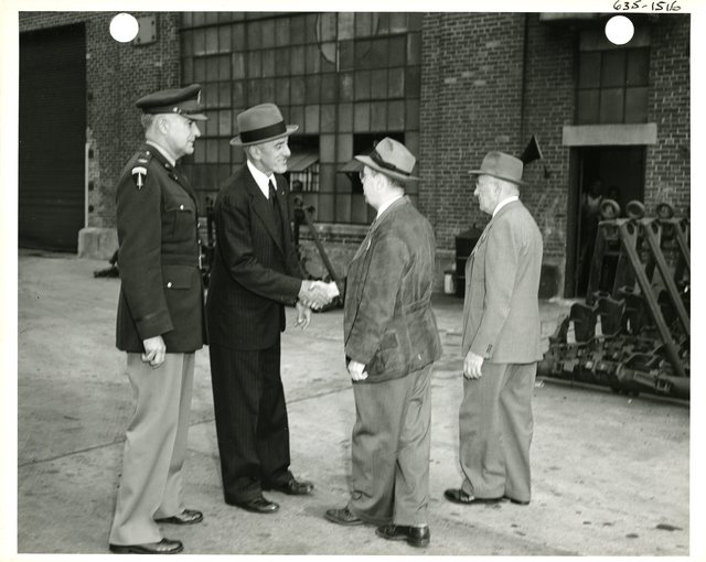 Senator Leverett Saltonstall Meets with Men at the Watertown Arsenal