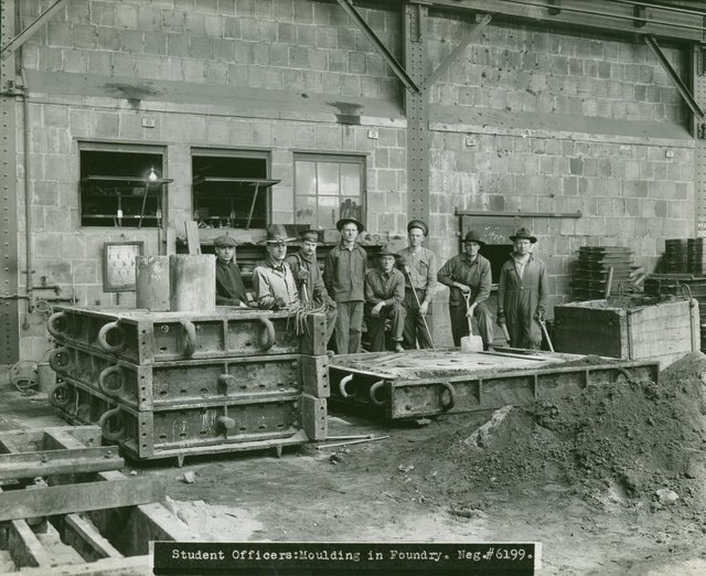 Student Officers Moulding at the Foundry