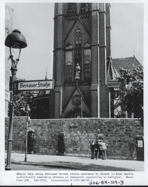 Berlin Wall Along Bernauer Street Blocks Entrance to Church in East Berlin Symbolically Reminding Germans of Communist Opposition to Religion