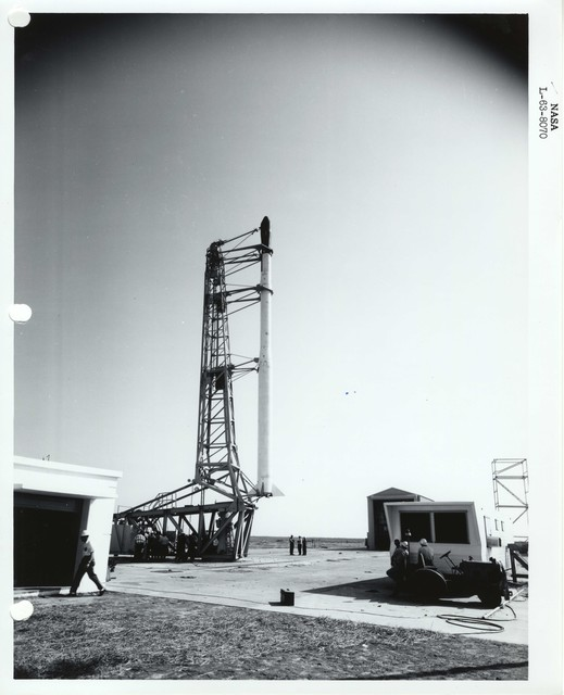 Photograph of a Rocket in the Launch Structure at the Wallops Island Launch Area in Virginia