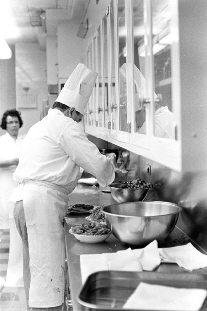 White House Chef Rene Verdon Prepares for Dinner in Honor of the Vice President, Speaker of the House, and Chief Justice