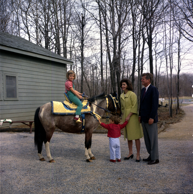 President John F. Kennedy and Family Watch Caroline Kennedy Riding a Horse Named Tex at Camp David