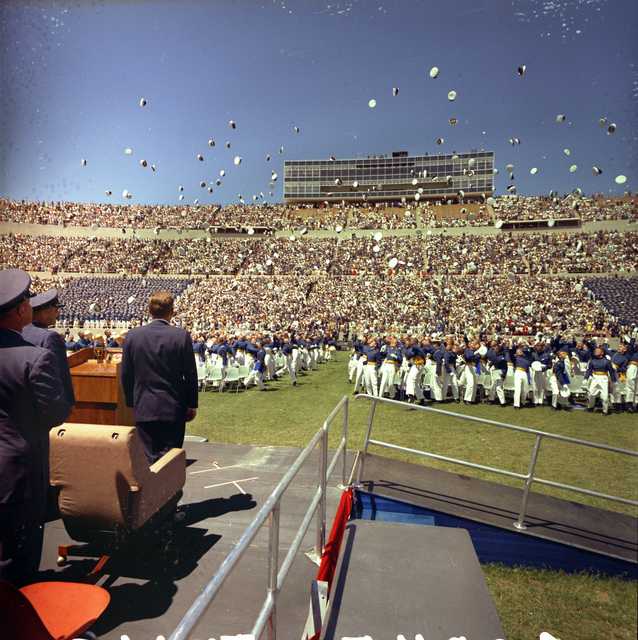 Graduating Cadets Toss Caps in the Air as President John F. Kennedy Looks on,  Falcon Stadium, U.S. Air Force Academy, Colorado Springs, Colorado
