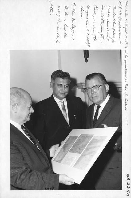 Photograph of Ceremonies at the Presentation of a National Archives Certificate of Appreciation to Charles Kohen of Washington for His Donation of Two Letters from John Rush, Winner of the Congressional Medal of Honor
