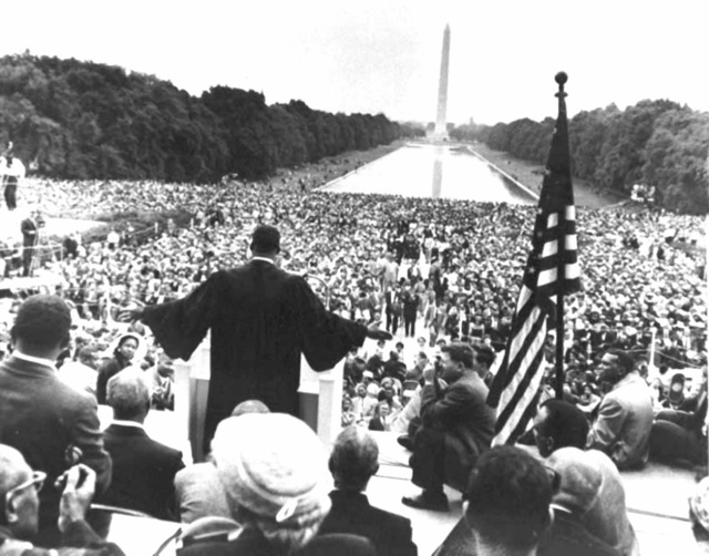 Photograph of Dr. Martin Luther King Jr. addressing the crowd during the 1957 Prayer Pilgrimage for Freedom in Washington, D.C.