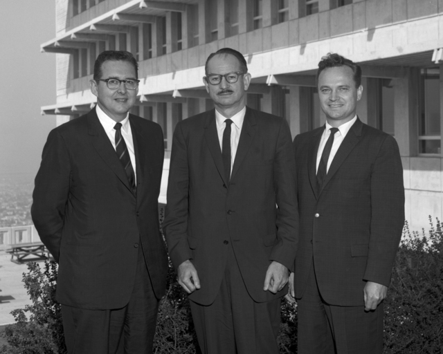 Left to right: Congressman Craig Hosmer, Edwin McMillan, and Edward Bauser, taken September 13, 1963. Morgue 1963-28 (P-2) [Photographer: Donald Cooksey]