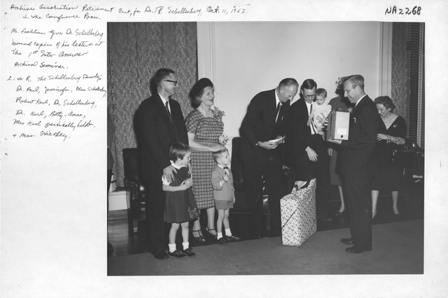 Photograph of Archives Association Retirement Party for Dr. T. R.  Schellenberg in the Conference Room