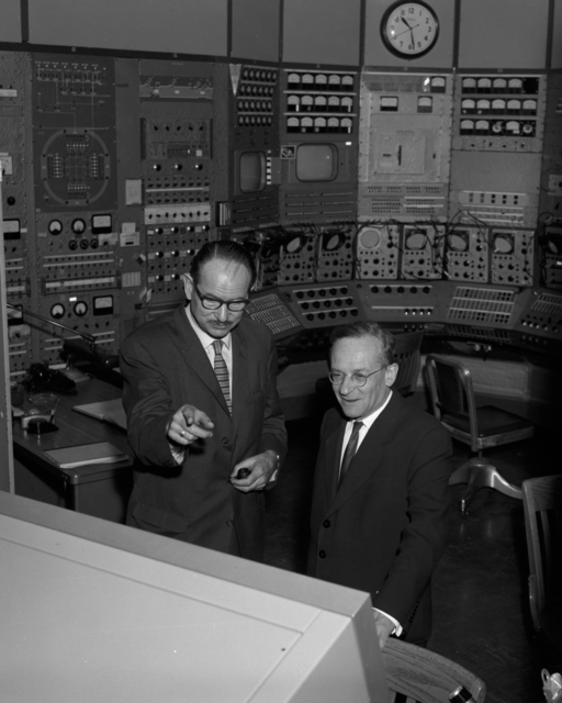 Edwin McMillan (left) and Vladimir Veksler (right), Russian experimantal physicist in the Bevatron control room, taken October 28, 1963. Morgue 1963-35 (P-4) [Photographer: Donald Cooksey]
