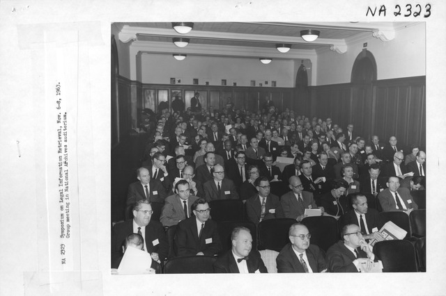 Photograph of the Symposium on Legal Information Retrieval Group Meeting in National Archives Auditorium