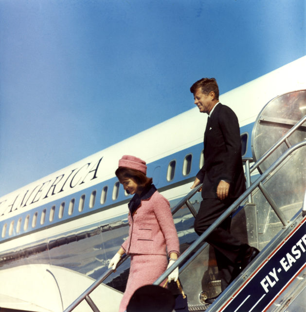 President and Mrs. Kennedy Deplane from Air Force One at Love Field, Dallas, Texas