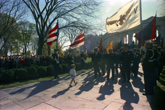 Veteran's Day Ceremonies at Arlington National Cemetery, President Kennedy, John F. Kennedy Jr., Military Aides, General Shoup, and Others