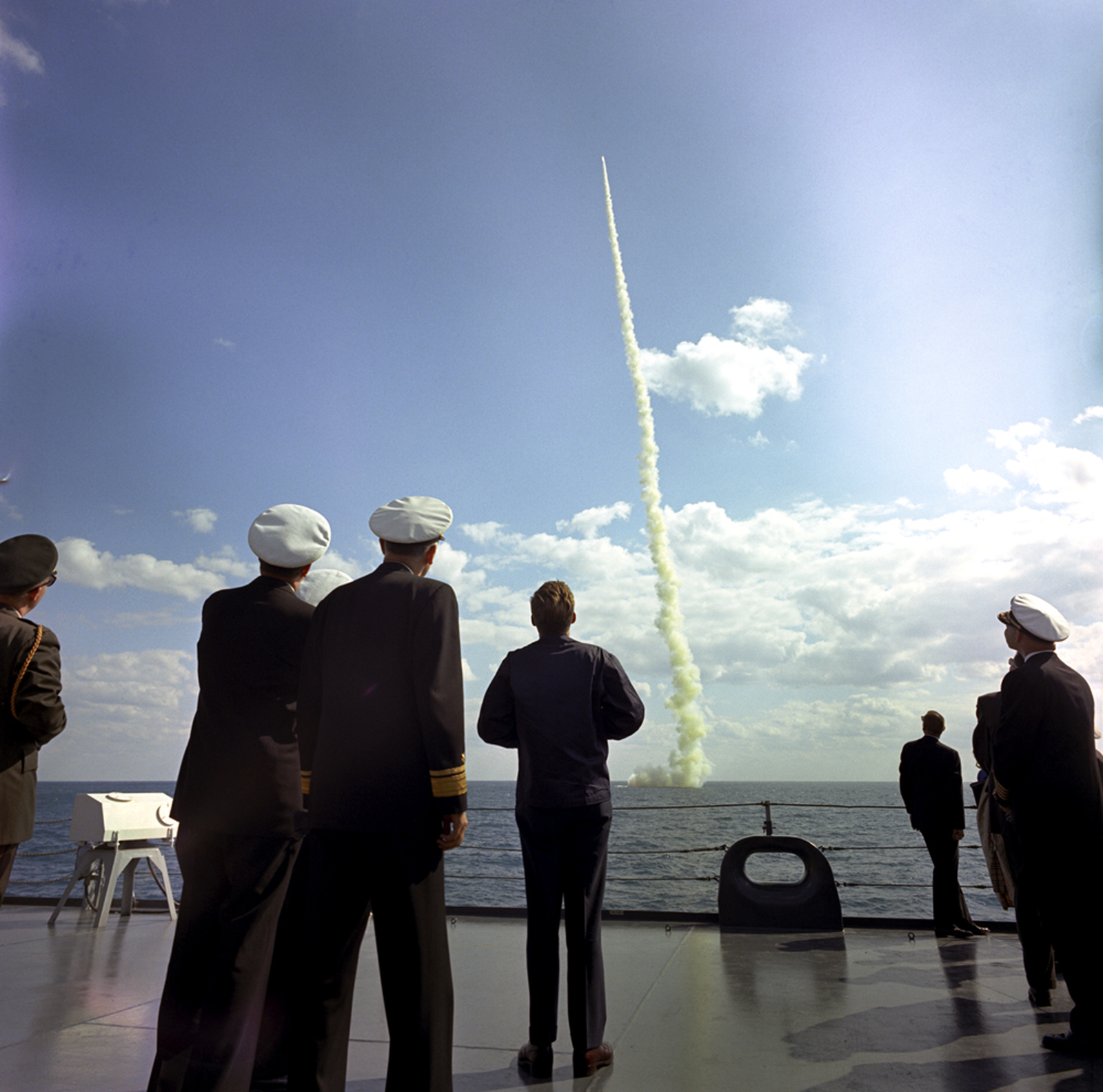President John F. Kennedy Observes the Firing of a Polaris Missile by the Submarine Andrew Jackson aboard the USS Observation Island off the Coast of Florida