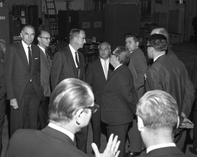 Russian scientists' visit to the Heavy Ion Linear Accelerator. Glenn T. Seaborg, Ed Lofgren, and Luis Alvares at center. Photo taken November 21, 1963. See also: XBD201004-00309.tif; XBD201004-00310.tif for associated images. Morgue 1963-41 (P-16) [Photographer: Donald Cooksey]