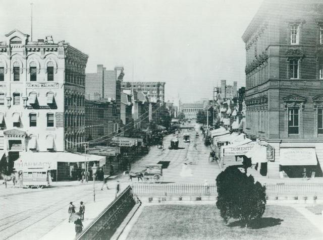 F Street from Steps of Old Patent Office (Now Civil Service Commission Building) towards the Treasury