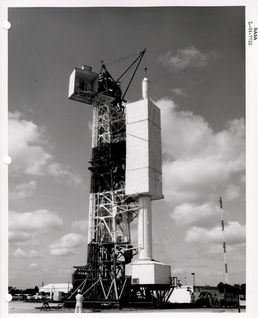 Photograph of a Rocket being Prepared for Launch on a Structure at the Wallops Island Launch Area in Virginia