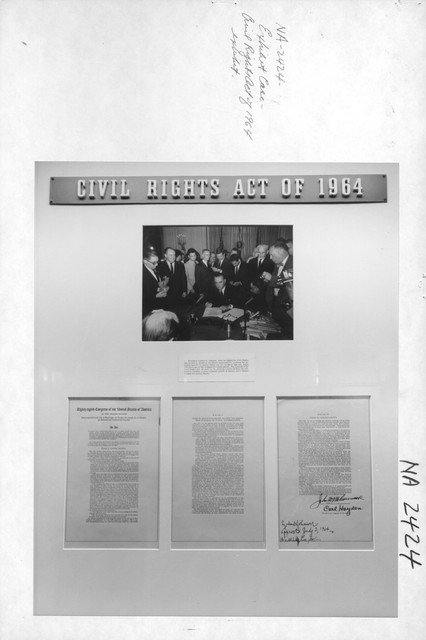 Photograph of Exhibit case on the Civil Rights Act of 1964