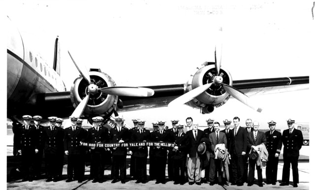 Yale University Cadets Standing under an Airplane Wing in Pensacola, Florida