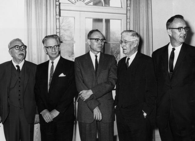 Luis Alvarez (right) receives the 1963 National Medal of Science from President Johnson, taken January 13, 1964. Morgue 1964-13 (P-1) [Photographer: Donald Cooksey]