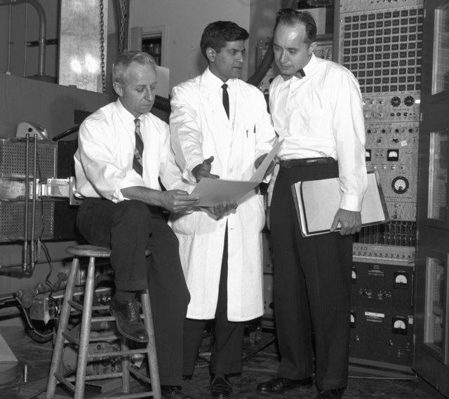 Isadore Perlman (left) with associate and Frank Asaro (right), taken January 15, 1964. Morgue 1964-1 (P-4) [Photographer: Donald Cooksey]