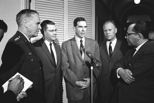 Left to right, General Maxwell D. Taylor, USA, Chairman, Joint Chiefs of STAFF; Secretary of Defense Robert S. McNamara, Representative George H. Mahon (D-Texas) and Representative Gerald R. Ford (R-Michigan) are interviewed by ABC-TV newsman William Downs following a meeting with the House Committee on Defense Appropriations
