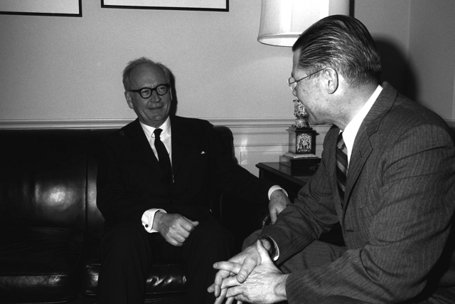 GEN Adolf Heusinger, Federal Republic of Germany, Chairman, North Atlantic Treaty Organization (NATO) Military Committee, meets with Secretary of Defense Robert S. McNamara, right, at the Pentagon to discuss defense matters relating to NATO