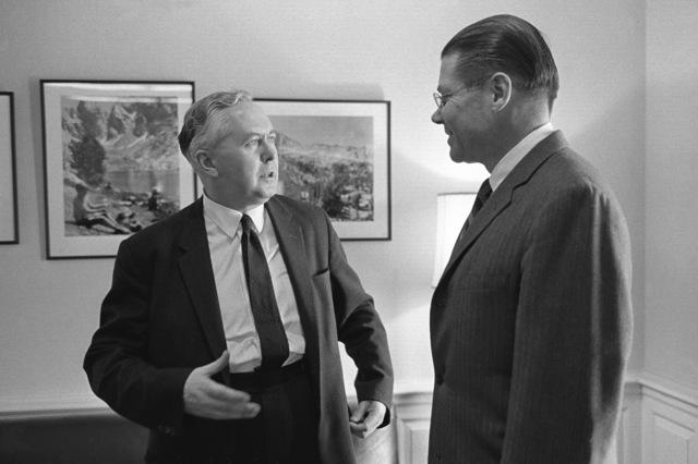 Sir Harold Wilson, British labor leader, meets with Secretary of Defense Robert S. McNamara, right, at the Pentagon