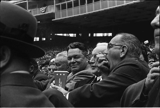 President Lyndon B. Johnson Attends the First Baseball Game of the 1964 Season