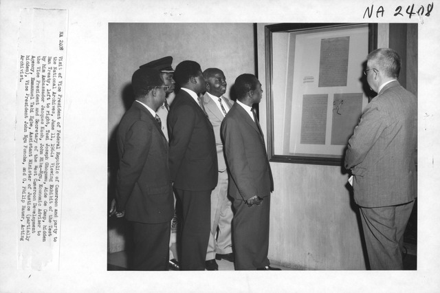 Photograph of the Visit of the Vice President of Federal Republic of Cameroon and Party to the National Archives