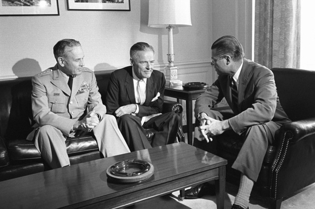 Henry Cabot Lodge, US Ambassador to South Viet Nam, center, meets General Maxwell D. Taylor, USA, Chairman, Joint Chiefs of STAFF, and Secretary of Defense Robert S. McNamara, at the Pentagon