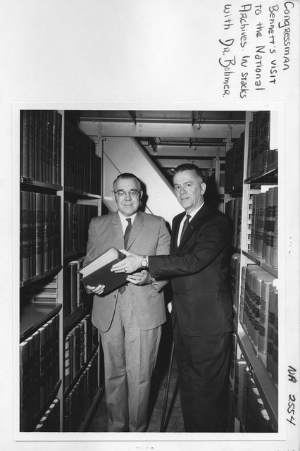 Congressman Charles E. Bennett in Stack Area with Dr. Robert H. Bahmer