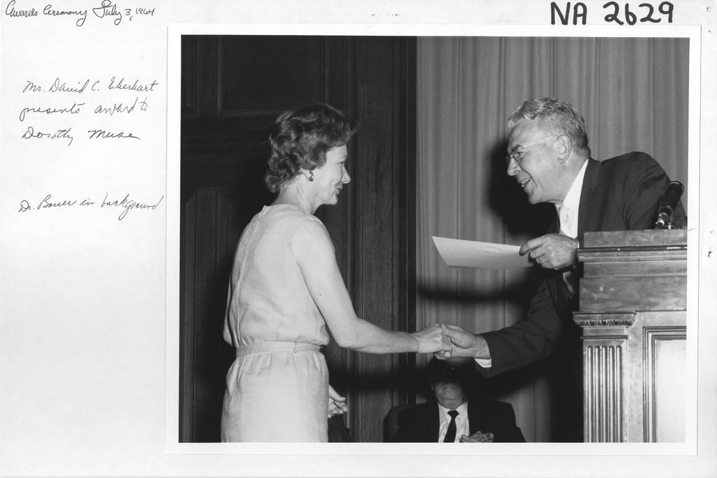 Mr. David C. Ebenhart Presents Award to Dorothy Muse