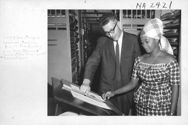 Photograph of the Visit of Mrs. Gladys Sheriff, Librarian of Fourah Bay College, University College, Freetown, Sierra Leone, to the National Archives