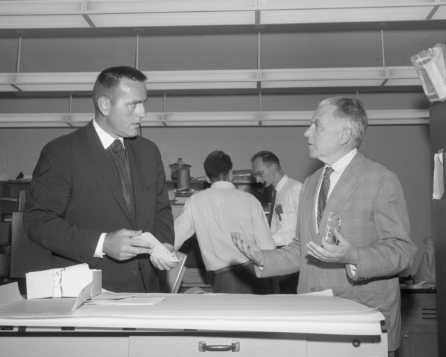 Visitor Brother Eric with Dr. Emilio Segre (right), taken August 7, 1964. Morgue 1964-45 (P-3) [Photographer: Donald Cooksey]