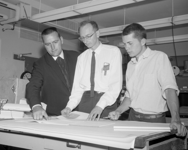 Visitor Brother Eric with Dr. Owen Chamberlain (center), taken August 7, 1964. Morgue 1964-45 (P-1) [Photographer: Donald Cooksey]