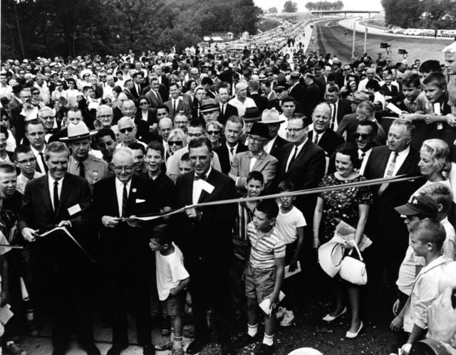 Photograph Taken in Maryland of the Ceremony Opening the Final Link of the Capital Beltway Around Washington, DC with Federal Highway Administrator Whitton and Maryland Governor Tawes Cutting the Ribbon, and John B. Funk, Chairman of the Maryland State Highway Commission Assisting
