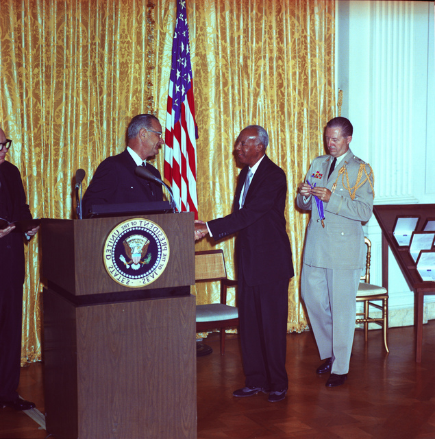 President Lyndon B. Johnson Awards the Medal of Freedom to A. Philip Randolph