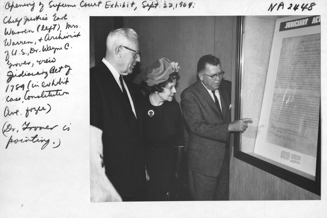Photograph of Opening of Supreme Court Exhibit at the National Archives in Commemoration of 175th Anniversary of the Judiciary Act of 1789