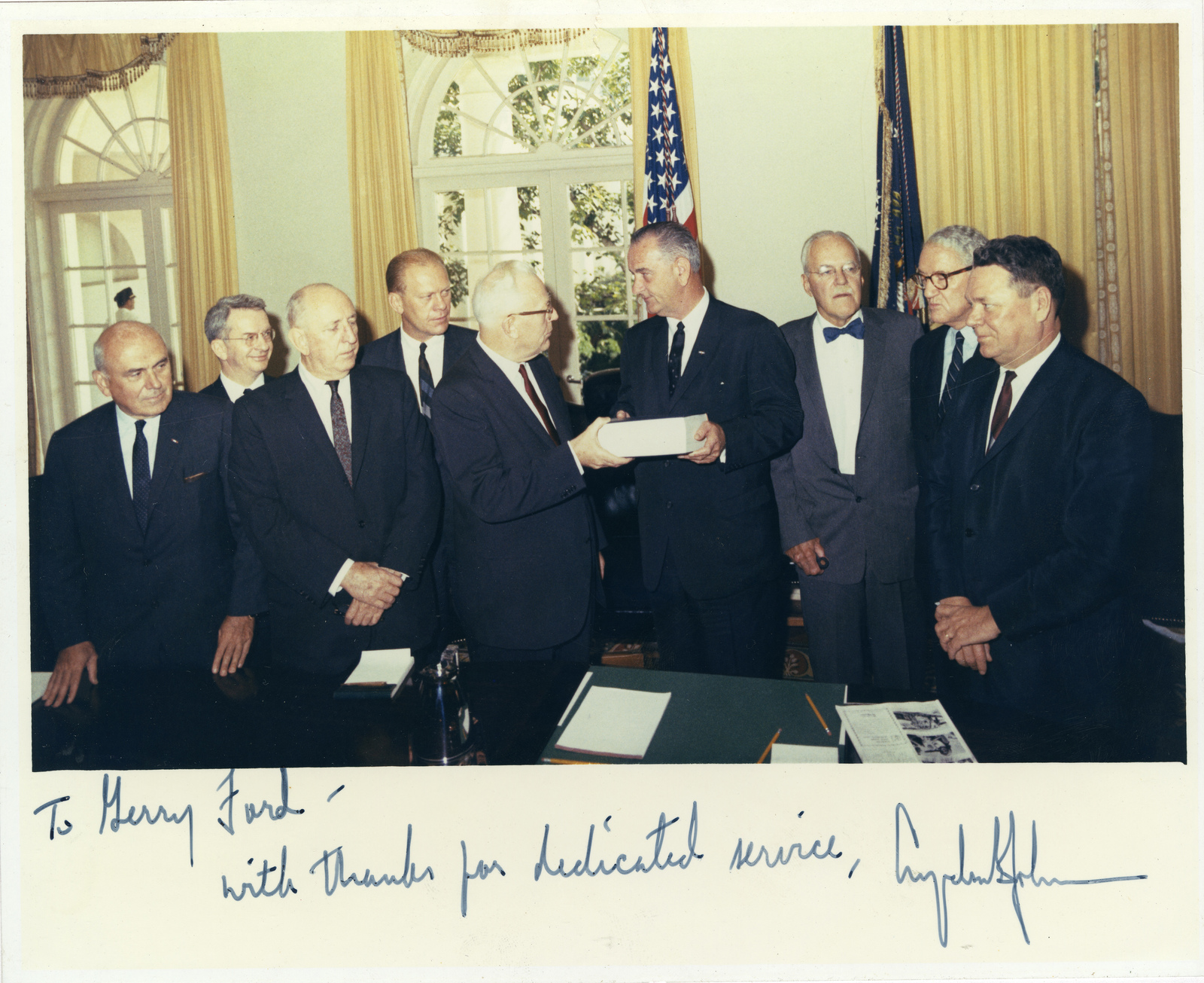Photograph of the Warren Commission Presenting the Final Report to President Lyndon B. Johnson Inscribed to Gerald R. Ford by the President