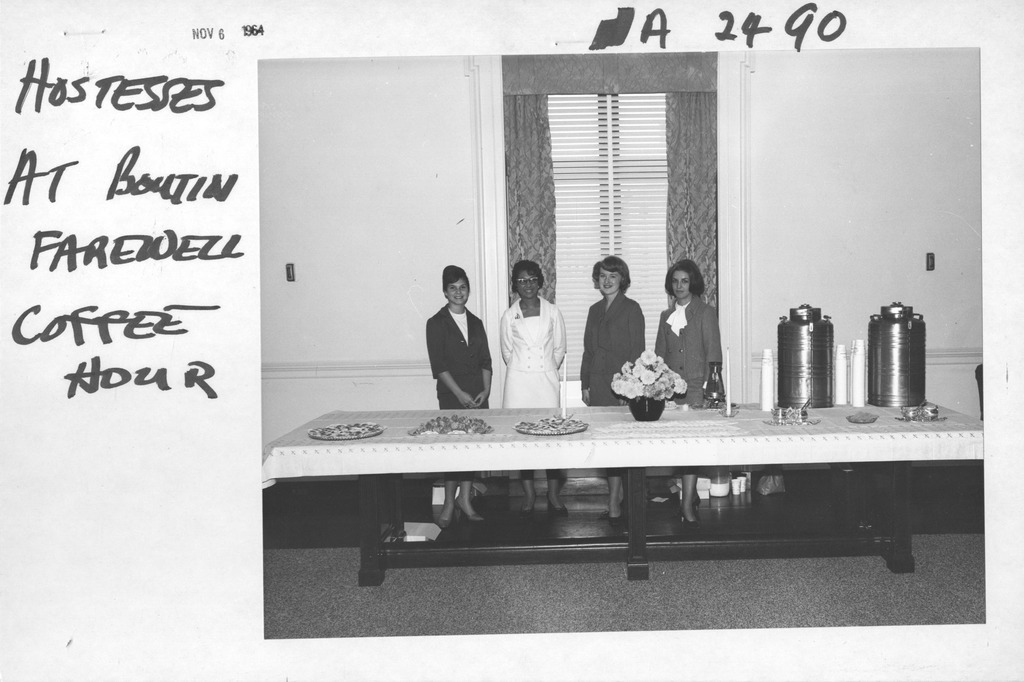 Photograph of Hostess at Bernard Boutin's, Administrator of General Services Administration, Farewell Coffee Hour