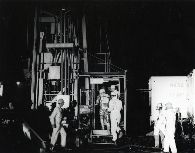 Photograph of Alan Shepard before Being Placed inside the Mercury Capsule for a Flight Simulation Test Run