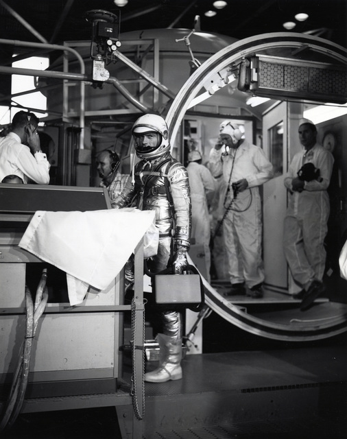Photograph of Donald Slaton Suited up in Space Gear Preparing to Enter Altitude Chamber