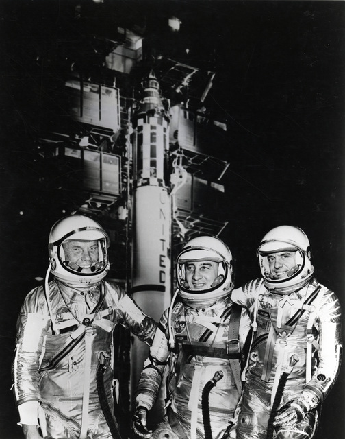 Photograph of John H. Glenn, Jr., Virgil L. Grissom and Alan B. Shepard, Jr. Training for the Nation's First Manned Space Flight